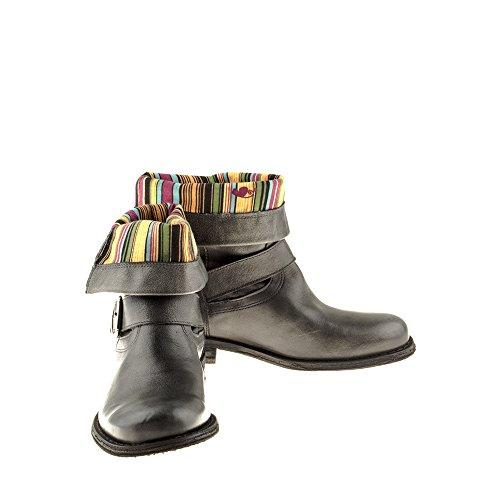 Felmini - Zapatos para Mujer - Enamorarse com Gredo 7176 - Botas Cowboy & Biker - Cuero Genuino - Gris Gris