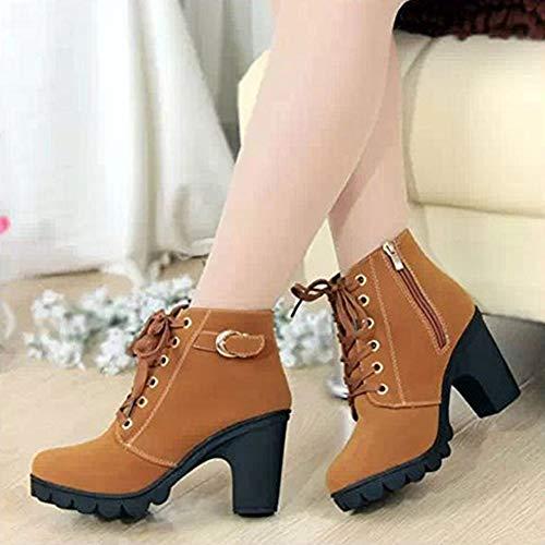 Retro Amarillo Trabajo Nieve De Zapatos Invierno Hibote Botas Mujer Lazada Botine aqHPd