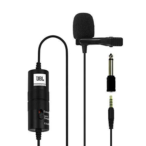 JBL Commercial CSLM20B Omnidirectional Lavalier Microphone with Battery for Content Creation, Voice over/Dubbing…