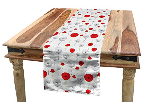 (Ambesonne Poppy Table Runner, Tender Spring Blossoms with Curly Stems Rural Flowers in Modern Design, Dining Room Kitchen Rectangular Runner, 16