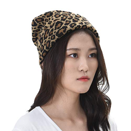 WITHMOONS Knitted Beanie Hat Animal Leopard Pattern Watch Cap KR51083 ()