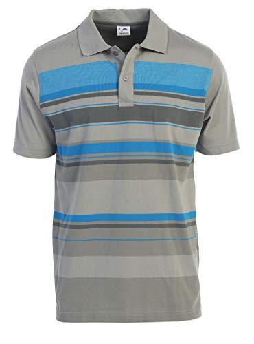 Gioberti Mens Slim Fit Striped Short Sleeve Polo Shirt, Gray, 2X-Large