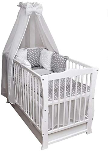 Babybett-Kinderbett-Juniorbett-Bettset-Decke-Kissen-Minky-Matratze-Schublade-120x60cm-weiss-Neu