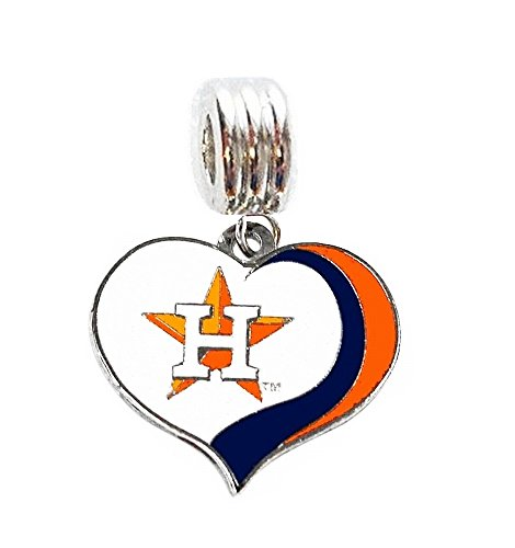 Heavens Jewelry HOUSTON ASTROS BASEBALL TEAM HEART CHARM SLIDER PENDANT FOR YOUR NECKLACE EUROPEAN CHARM BRACELET (Fits Most Name Brands) DIY PROJECTS ETC