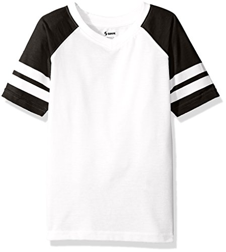 Soffe Girls' Big Retro Football Tee, White/Black, ()