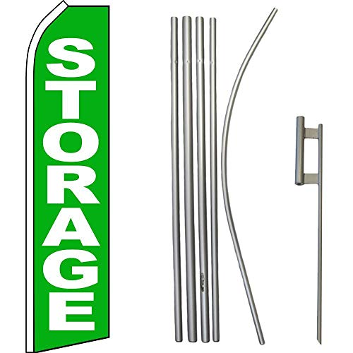 ALBATROS Storage Green White Swooper Flag with 16ft