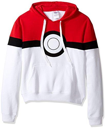 Pokemon Men's Pokeball Hoodie Sweatshirt, Red/White X-Large -
