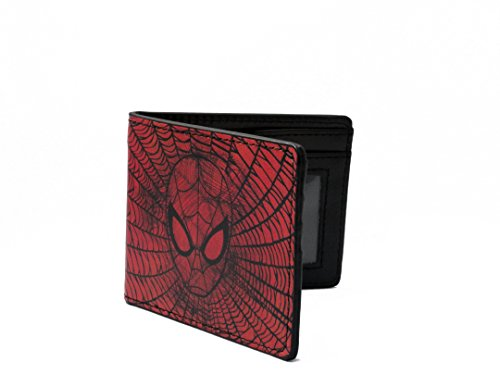 SPIDERMAN FACE WEB PRINTED BI-FOLD LEATHER WALLET 4 BY 4 INCH