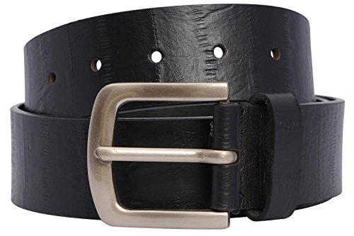 Black Crushed Leather (Click Selfie New Unisex Retro Crushed Pattern Real Buff Leather Belts Black S)