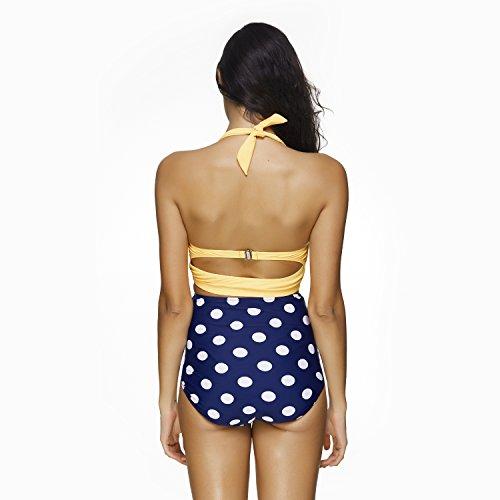 Mujer Retro Cuello Halter Polka Dot Cintura Alta Bikini Trajes de Ba–o Playa Ba–adores Traje amarillo y punto blanco en pantalón azul