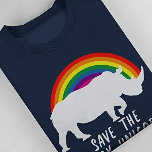 Sweatshirt Save The Navy Chubby Blue Rainbow Unicorns Women's rXr8q