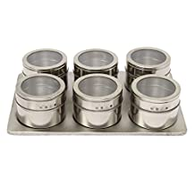 Spice Jar Set - SODIAL(R) 7in1 Magnetic Spice Jar Set Rack Holder Seasonings Containers Condiments Storage Silver