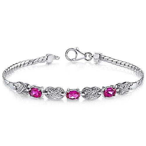 (Luxurious Oval Cut Created Ruby & White CZ Gemstone Bracelet in Sterling Silver Rhodium Nickel Finish)