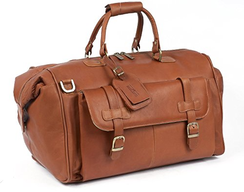 Claire Chase Millionaire's Leather Duffel Bag in Saddle by ClaireChase