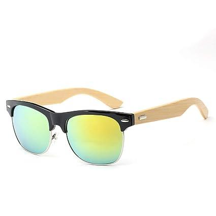 Gafas Sol con Patas de bambú Sol de Metal con Medio Marco ...