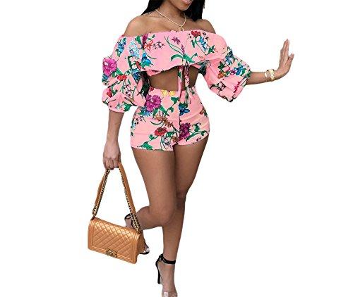 (JUNBOON Women Off Shoulder Ruffle Floral Print Crop Top Short Pants Jumpsuits 2 Piece Outfits Pink)