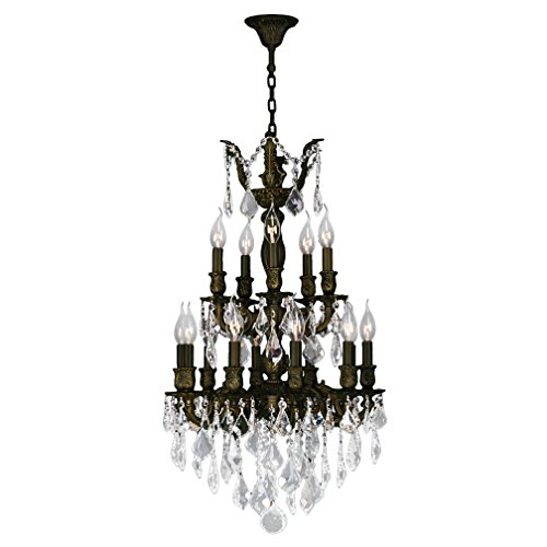 - Worldwide Lighting Versailles Collection 15 Light Flemish Brass Finish and Clear Crystal Chandelier 19