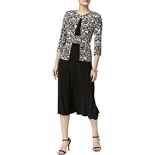 Jessica Howard Jacket Dress - Jessica Howard Women's 3/4 Sleeve Jacket Dress, Black/Ivory, 6