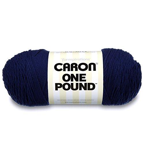 Caron  One Pound Solids Yarn - (4) Medium Gauge 100% Acrylic - 16 oz -  Midnight Blue- For Crochet, Knitting & -