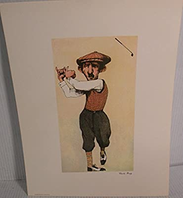 """Art print Charles Bragg artistic Signed Color Lithograph """"GOLFER"""" limited edition"""