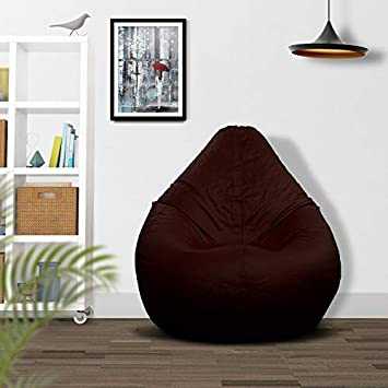 Ample Decor Premium Quality Leatherette Bean Bag Covers Only, Suitable for Indoor Outdoor Use Filling Not Included Childproof Zippers – XXL – Brown