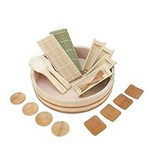 "BambooMN Brand - 13"" Sushi Oke Tub (Hangiri) - 19 Pieces Sushi Making Accessory Pack"