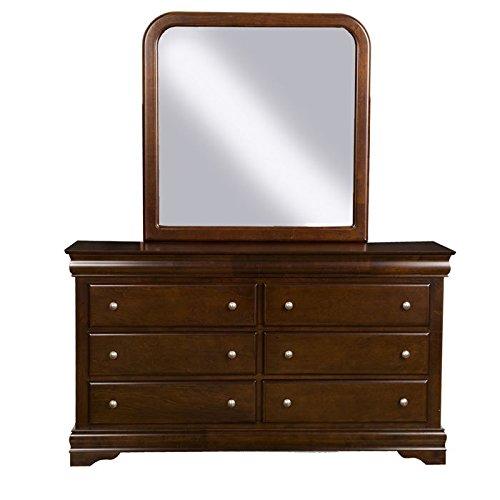 Alpine Furniture 3201/3203 Chesapeake Dresser and Mirror Set Brown Merlot