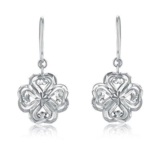 Or blanc 14carats Trèfle Puff en filigrane avec coupe diamant Boucles d'oreilles pendantes, Bijoux Cadeau pour Femme Fille