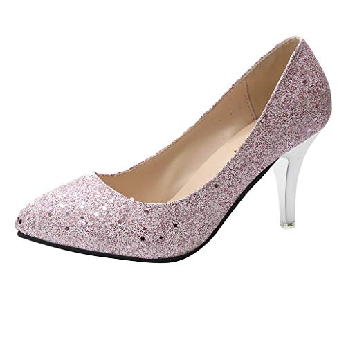 (Aunimeifly Women's Sequin Pointed Toe Stilettos Wedding Pumps Ladies Stylish Bling Shallow High Heels Shoes Pink)