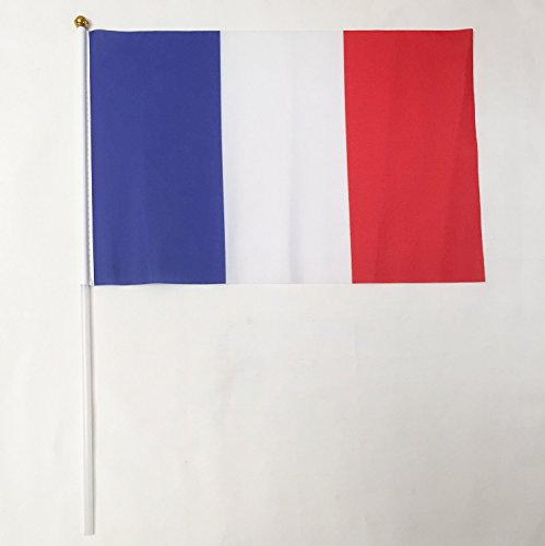 France 12-Pack 4 x 6 Inch Polyester Country Hand Flags Desk Waving Parade