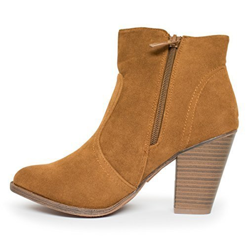 72e828ae5cb9a Galleon - Breckelle's Women's HEATHER-34 Faux Suede Chunky Heel Ankle  Booties, TS Heather-34 Tan Size 11