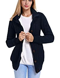 Eternatastic Women's Hooded Cable Knit Button Down Cardigan Long Sleeve Sweaters