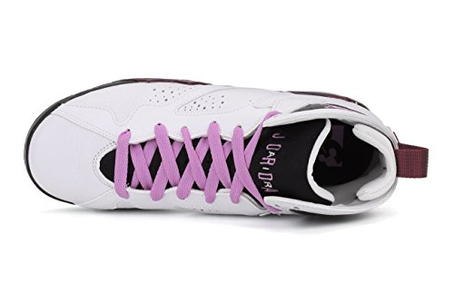 Nike Mädchen Air Jordan 7 Retro GG Laufschuhe Weiß / Pink / Schwarz / Rot (Weiß / Fuchsia Glow-Blk-Mlbrry)