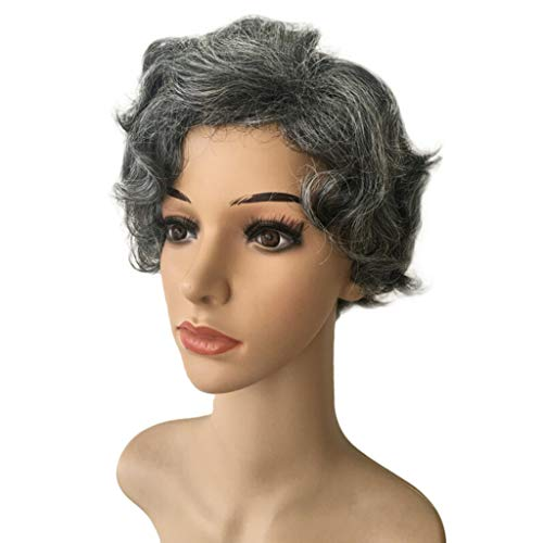 Grandma Wig Wave 1920s Mid Length Long Curly Retro Synthetic Hair for Women Cosplay Costume Halloween (C)