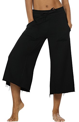 - icyzone Culottes Capri Pants for Women - Elastic Waist Wide Leg Joggers Casual Lounge Cotton Sweatpants with Pockets (XL, Black)