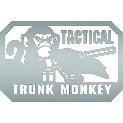 TACTICAL TRUNK MONKEY MORALE PATCH (METALLIC SILVER) (set of 2) Premium Waterproof Vinyl Decal Stickers for Laptop Phone Accessory Helmet Car Window Bumper Mug Tuber Cup Door Wall Decoration ()