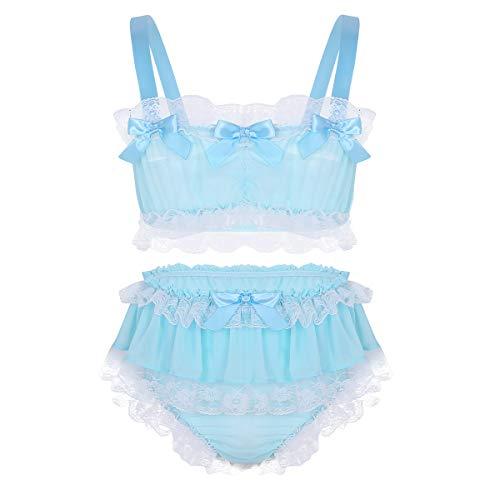 ACSUSS Sissy Men's 2 Pieces Lingerie Ruffled Crop Top Skirted Panties Nightwear Set Blue Large