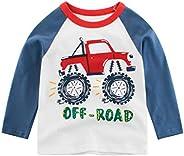 JSPOYOU Toddler Kids Baby Boys Long Sleeve Letter Cartoon Car Shirt Tops Tee Clothes