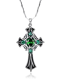 925 Sterling Silver Vintage Created Emerald Celtic Cross Necklace for Women