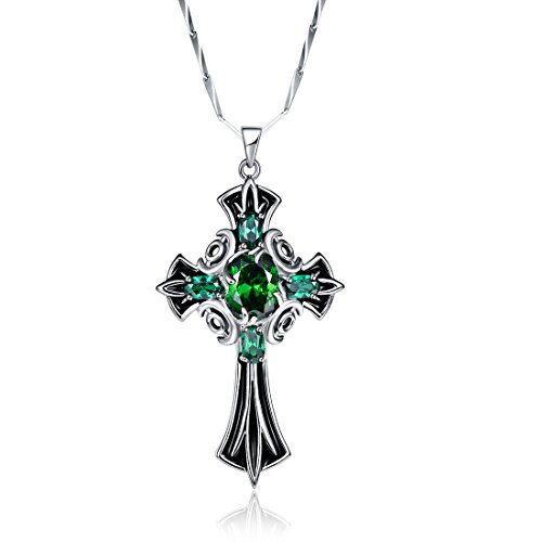 Merthus 925 Sterling Silver Vintage Created Emerald Celtic Cross Necklace for Women