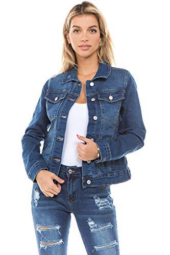 Women's Juniors Boyfriend Premium Denim Jackets Long Sleeve Jean Coats in M. Blue Size L
