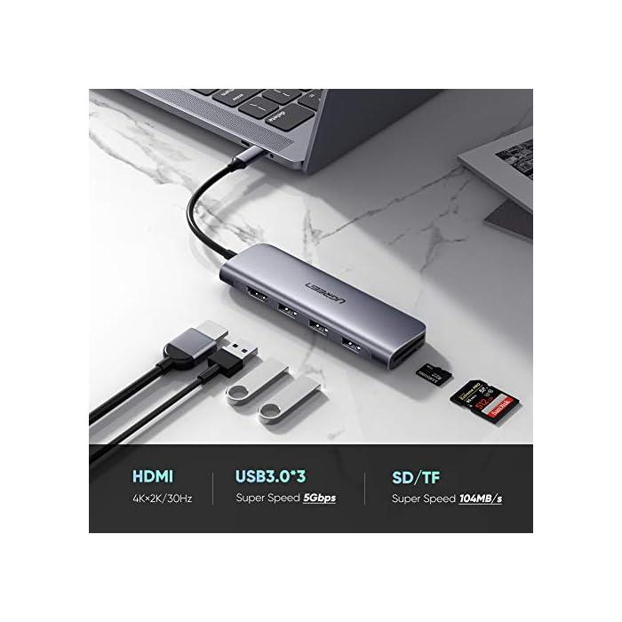 """41U95eKu6pL Haz clic aquí para comprobar si este producto es compatible con tu modelo HUB USB C 6 EN 1: Con este HUB USB tipo C, podrá disponer de un HUB USB 3.0, 4K HDMI, lector de tarjetas de TF y SD, todo lo que necesita está en este pequeño UGREEN HUB USB C, compacto y ligero, muy práctico para llevarse a cualquier lugar. AMPLIA COMPATIBILIDAD: Este dock station USB C es compatible con los dispositivos que tengan el puerto USB C que soporta la salida de video, tales como Nuevo Macbook 12 '', MacBook Pro 2019 2018 2017, MacBook Air 2020 2019, iMac 2019 2018, iPad Pro 2020, Asus Zenbook 3, Zenbook Pro UX550vd, Lenovo Yoga 920 / 720 / thinkpad X1, Dell XPS 13"""" 15"""", Google Chromebook Pixel, Microsoft Surface book 2, Go Surface, Samsung Galaxy S10 / S9, Huawei MateBook / Matebook X Pro, Huawei P40 / P30/ Mate 20."""