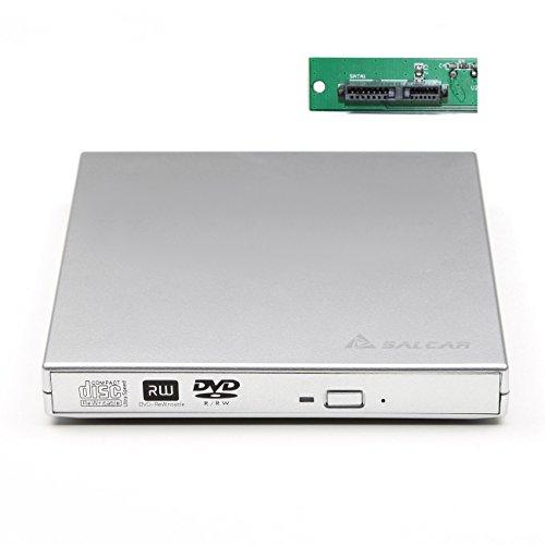 Salcar - Externes Laufwerkgehäuse SATA USB2.0 DVD Brenner Gehäuse SuperDrive Case für Notebook Internes DVD Laufwerk mit 12,7mm & SATA Schnittstelle (Silber)