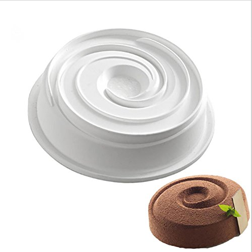 New Arrival Bakeware Round Spiral Shaped Wine Red Silicone Cake Molds 3D DIY Baking Decoration Tools Non-stick Vortex Round Design Mold for Mousse Cake Cornbread (Color: Sent by (Petit Biscuit D'halloween)
