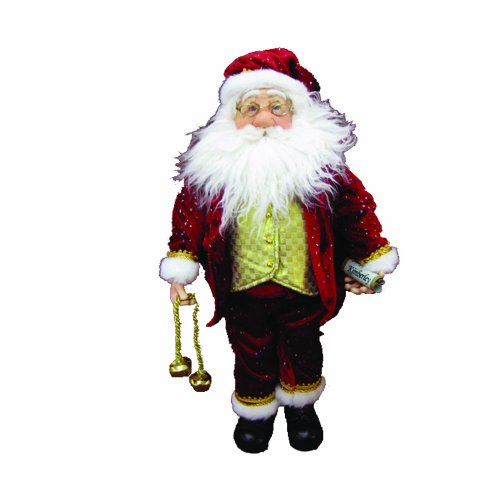 Kurt Adler Jacqueline Kent Santa with Bell Decoration, 20-Inch, Red