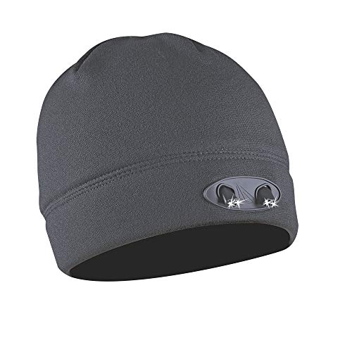 Panther Vision POWERCAP LED Beanie Cap 35/55 Ultra-Bright Hands Free LED Lighted Battery Powered Headlamp Hat - Grey Fleece (CUBWB-7677)