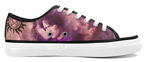 Ladies Canvas Shoes with Supernatural Dean and Sam Winchester Brothers Pattern