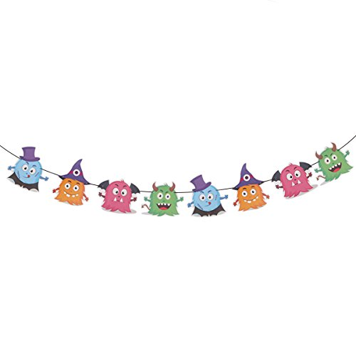 LUOEM 3 Meters DIY Halloween Bunting Banners Colorful Cute Cartoon Devils Streamer Garland Halloween Decoration for House Party Bar KTV Decor Photo Prop