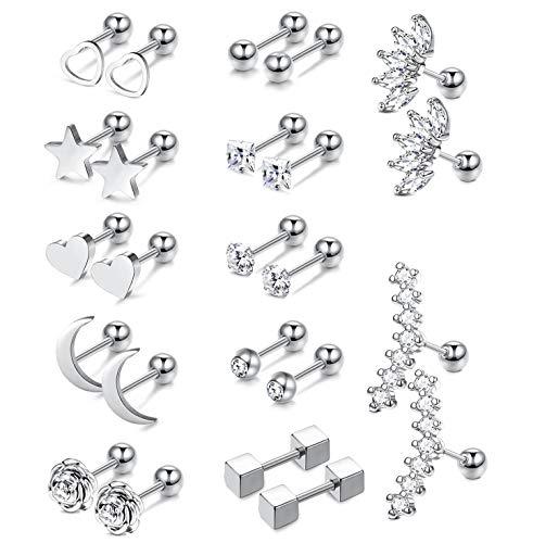 ORAZIO 12 Pairs Trague Helix Cartilage Earrings Piercing for Women Girls Labret Lip Stud Earrings 16G Stainless Steel Body Piercing Jewelry