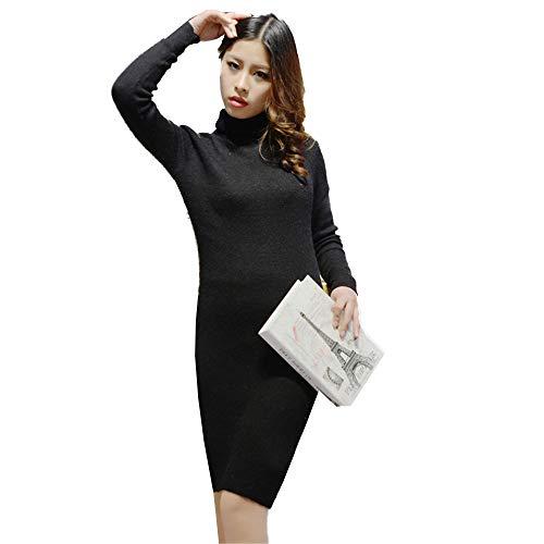Shirloy Dress caldo Maglione alto lunga a collo lunga Maglione manica Slim grande nero Sexy Manica pq7xprR